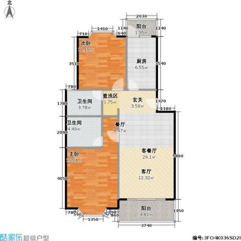 美之苑2室1厅2卫1厨81.00㎡户型图