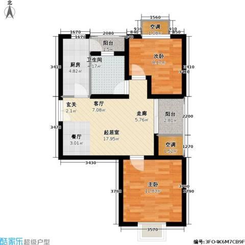 新梅淞南苑2室0厅1卫1厨70.00㎡户型图
