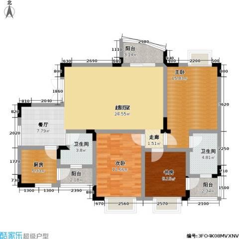 枫丹筱筑半山居、水云居3室0厅2卫1厨94.83㎡户型图