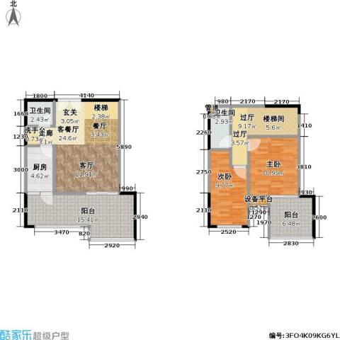 财信城市国际2室1厅2卫1厨88.00㎡户型图