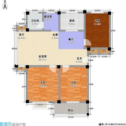 经典花苑3室0厅1卫1厨107.00㎡户型图