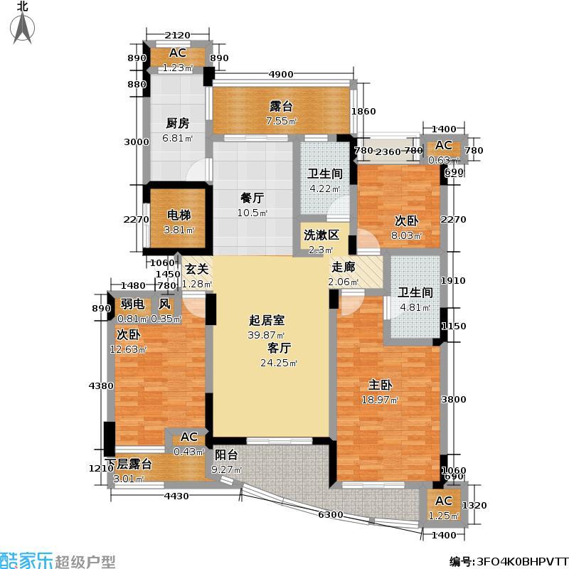 中凯・东方红街141.18㎡东方红街4期3-l偶数层户型