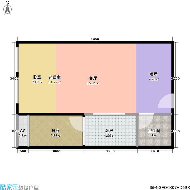 君悦・世纪42.92㎡一期1号楼标准层A户型