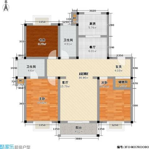 经典花苑3室0厅2卫1厨107.00㎡户型图