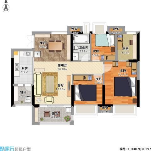 萝岗奥园广场4室1厅1卫1厨108.00㎡户型图