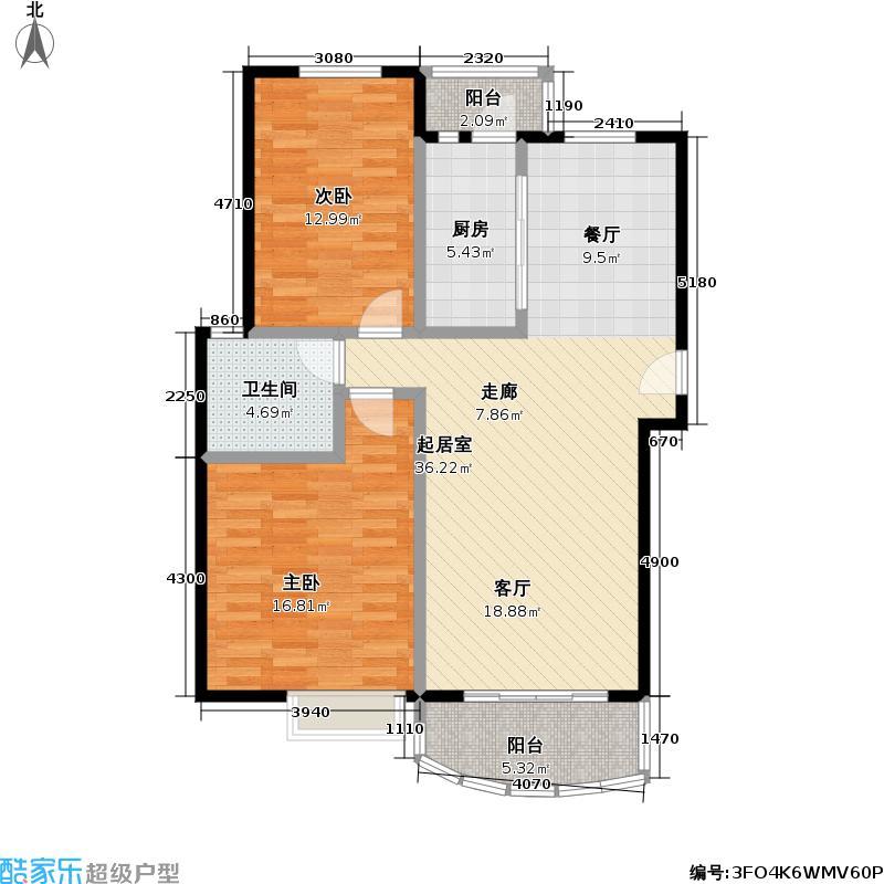 东方名筑-馥园86.48㎡房型: 二房; 面积段: 86.48 -106.28 平方米;户型