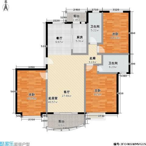 东方名筑-馥园3室0厅2卫1厨114.19㎡户型图