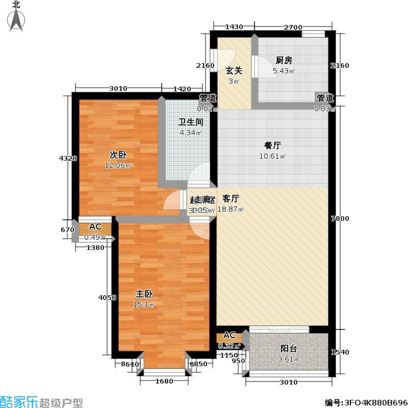 星河城101.29㎡两室两厅一卫户型