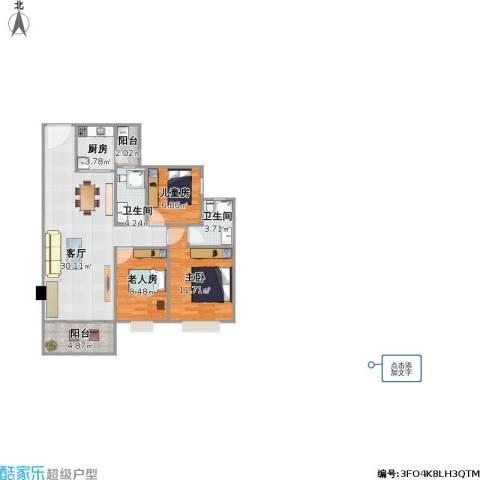 金都名苑(容桂)3室1厅2卫1厨103.00㎡户型图