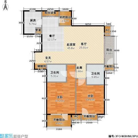 百旺茉莉园2室0厅2卫1厨120.00㎡户型图