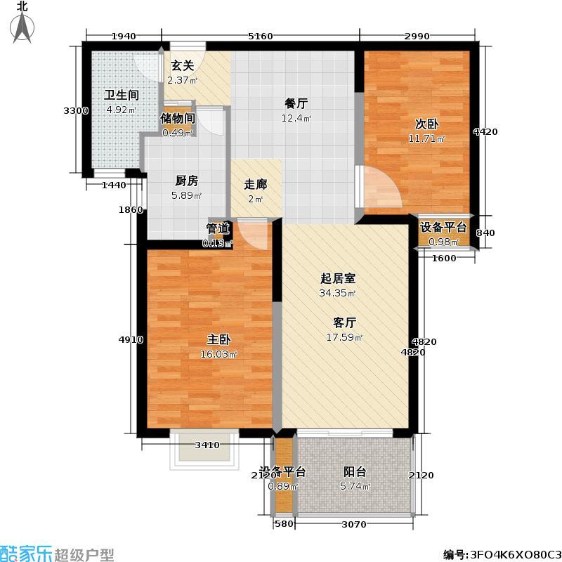 三湘华亭新苑户型2室1卫1厨