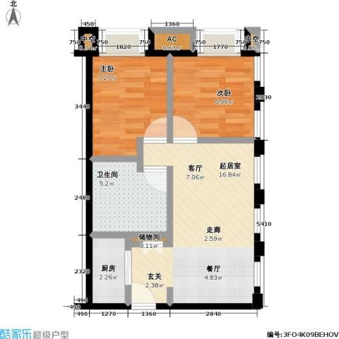 协信 中心2室0厅1卫1厨58.00㎡户型图
