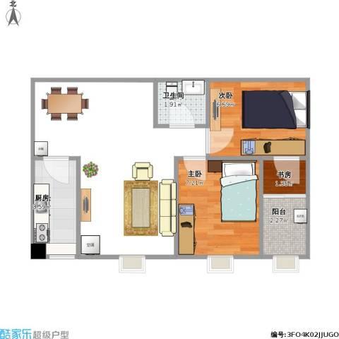 齐鲁时代花园3室2厅1卫1厨114.00㎡户型图