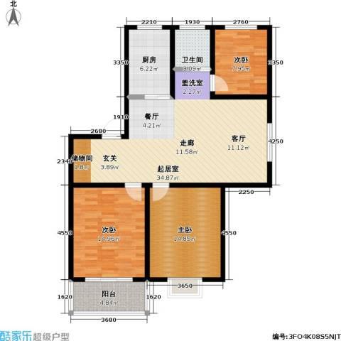 嘉恒新苑3室0厅1卫1厨100.00㎡户型图