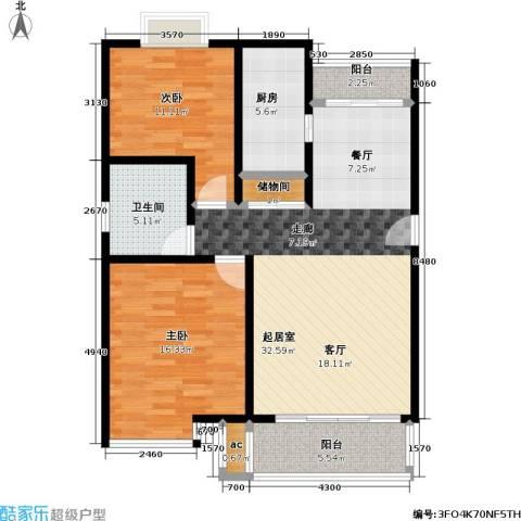 上南雅筑2室0厅1卫1厨90.00㎡户型图