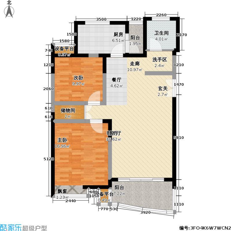 崇文园二期101.00㎡房型: 二房; 面积段: 101 -106 平方米; 户型