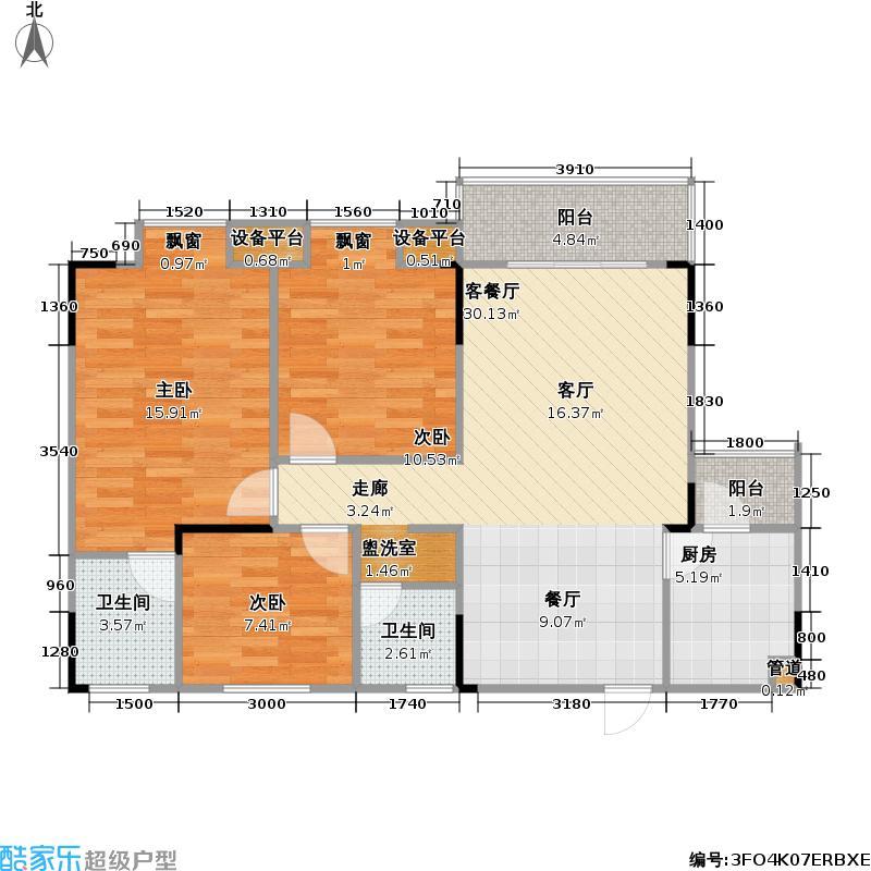 悠然・天地81.94㎡一期1号楼标准层1号房户型