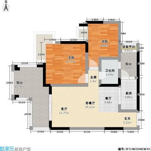 和泓南山道2室1厅1卫1厨72.00㎡户型图