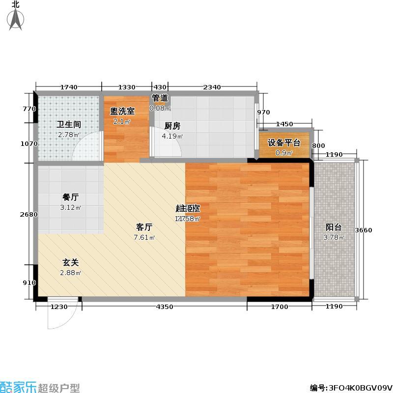 悠然・天地38.64㎡一期2号楼标准层1号楼户型