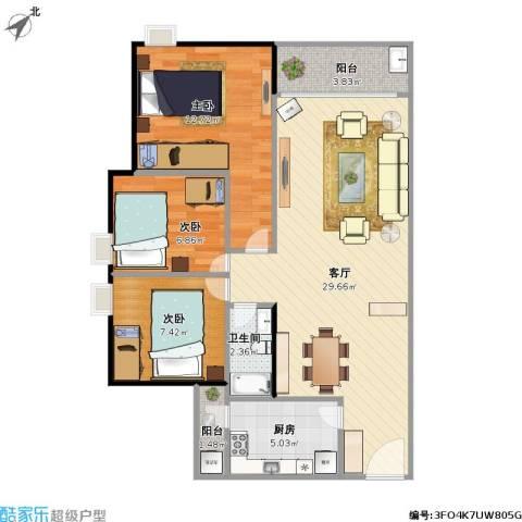 金都名苑(容桂)3室1厅1卫1厨94.00㎡户型图