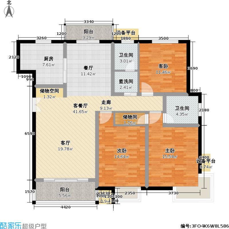 崇文园一期127.00㎡房型: 三房; 面积段: 127 -139 平方米;户型
