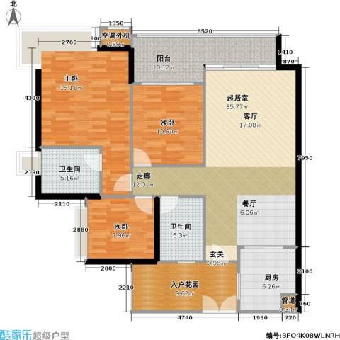 光大榕誉 光大花园 水榕苑3室0厅2卫1厨123.00㎡户型图