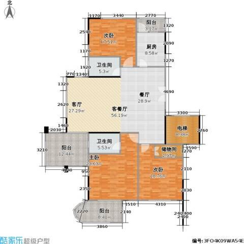 奥林匹克花园3室1厅2卫1厨170.88㎡户型图