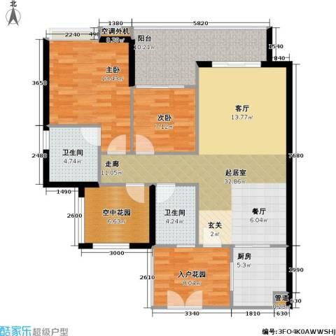光大榕誉 光大花园 水榕苑2室0厅2卫1厨106.00㎡户型图