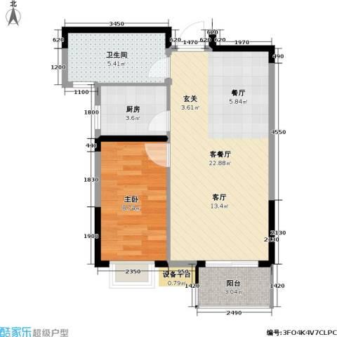 左邻右舍1室1厅1卫1厨58.00㎡户型图