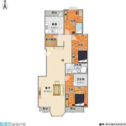 合生珠江罗马嘉园3室1厅2卫1厨147.00㎡户型图