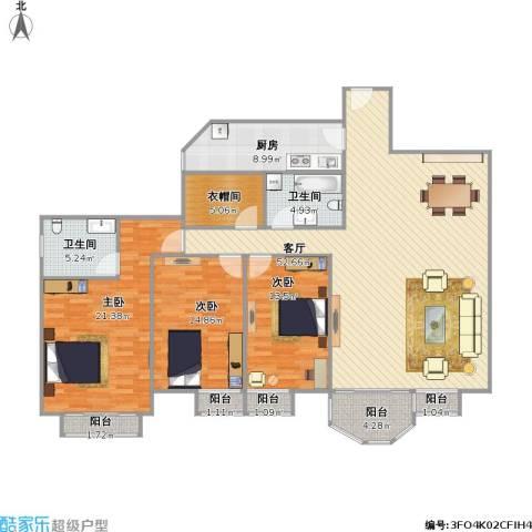 合生珠江罗马嘉园3室1厅2卫1厨183.00㎡户型图
