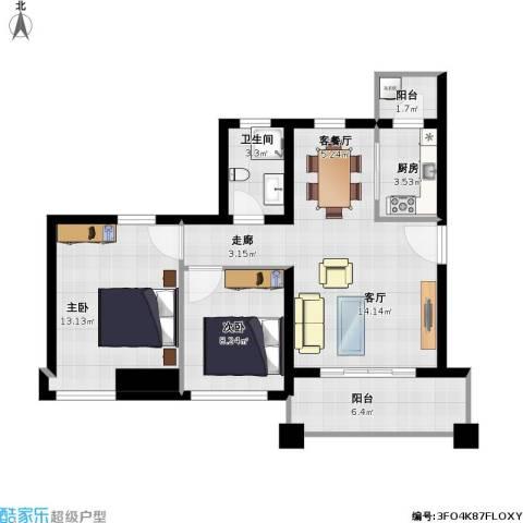 明大汇乐园2室1厅1卫1厨86.00㎡户型图