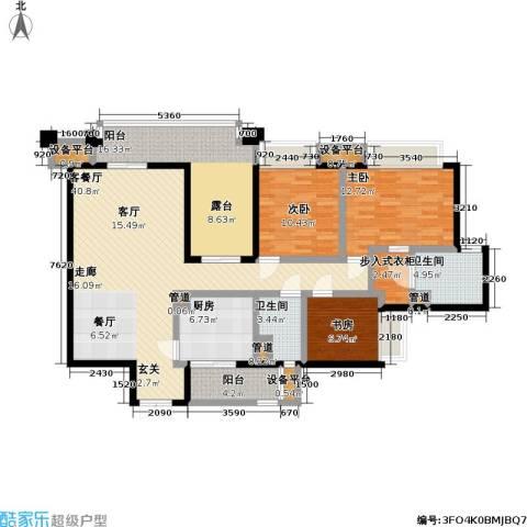 瑞安重庆天地3室1厅2卫1厨123.00㎡户型图