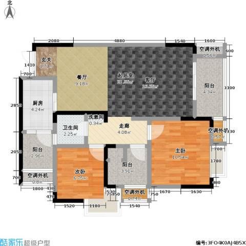 保利 椰风半岛2室0厅1卫1厨69.60㎡户型图