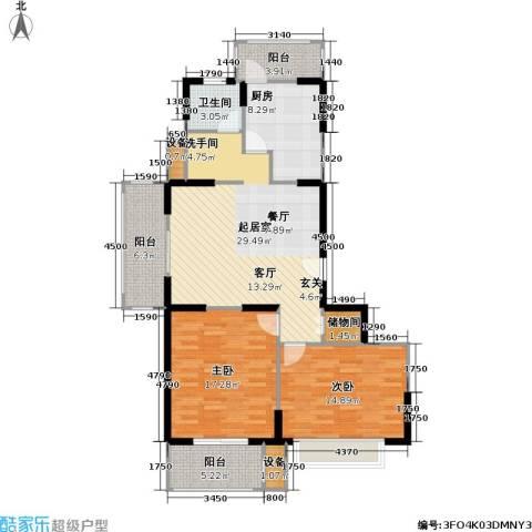 现代星洲城一期2室0厅1卫1厨100.00㎡户型图