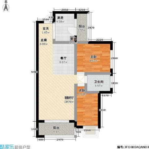 天元瑞�名苑2室1厅1卫1厨69.00㎡户型图