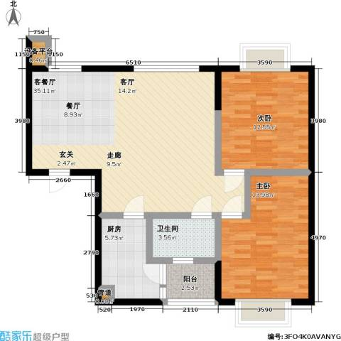 天元瑞�名苑2室1厅1卫1厨84.00㎡户型图