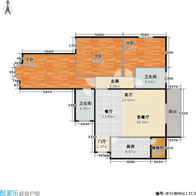静馨嘉苑145.00㎡三室二厅二卫户型