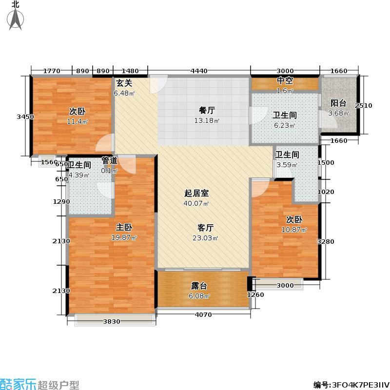 成都雅居乐花园136.00㎡房源户型3室2厅2卫