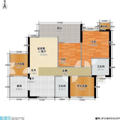 光大榕誉 光大花园 水榕苑2室0厅2卫1厨103.00㎡户型图