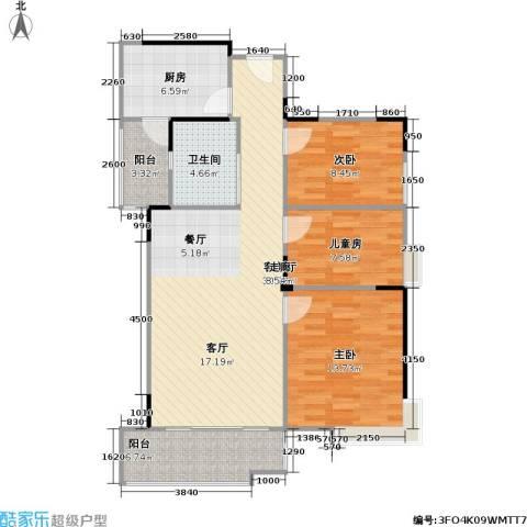 奥林匹克花园3室1厅1卫1厨95.00㎡户型图