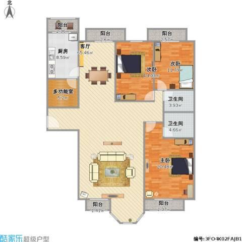 合生珠江罗马嘉园3室1厅2卫1厨195.00㎡户型图