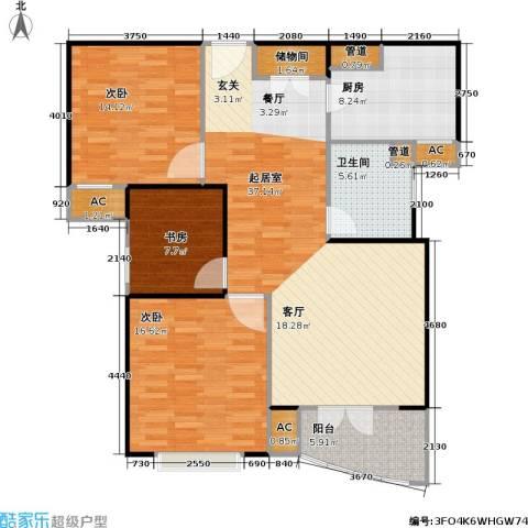 秋月枫舍二期3室0厅1卫1厨136.00㎡户型图