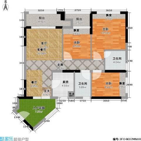 万科金域缇香3室1厅2卫1厨98.00㎡户型图