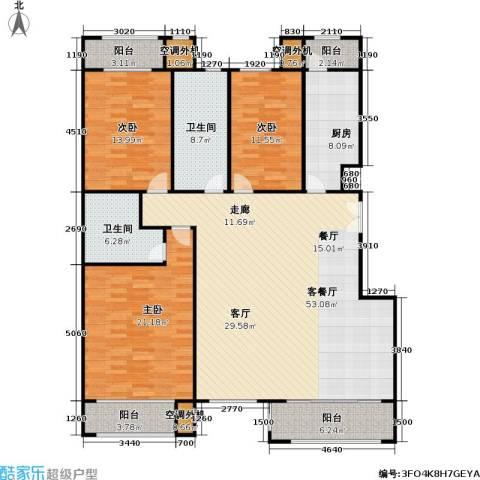 阿凯笛亚别苑3室1厅2卫1厨188.00㎡户型图