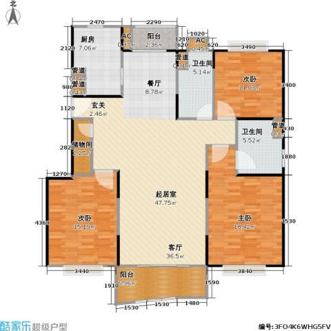 秋月枫舍二期3室0厅2卫1厨167.00㎡户型图