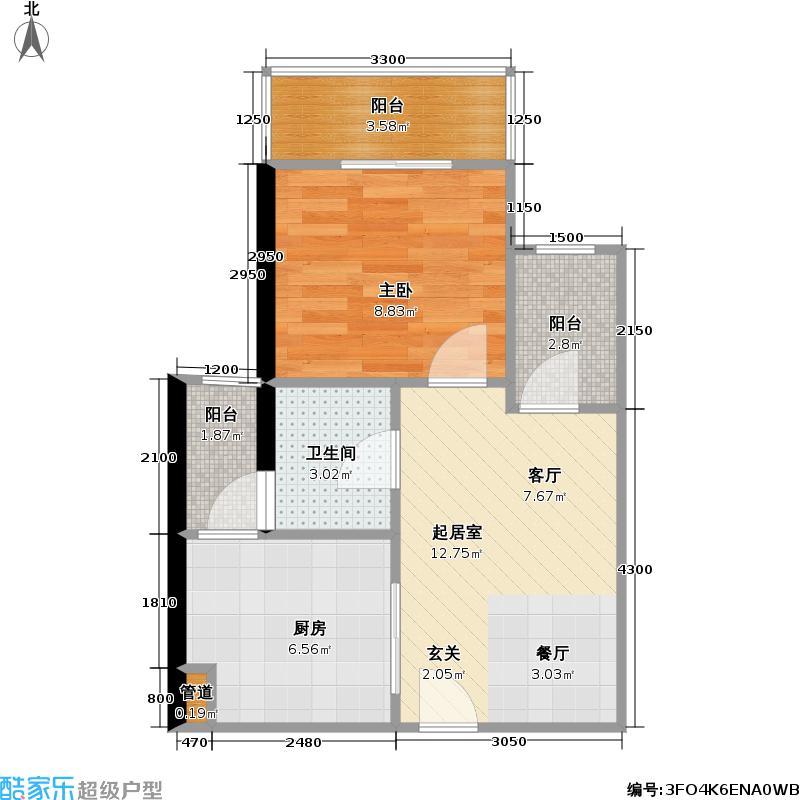 海雅缤纷城君誉48.00㎡海雅缤纷城君誉户型图A3型1房2厅1卫48平米(4/7张)户型1室2厅1卫