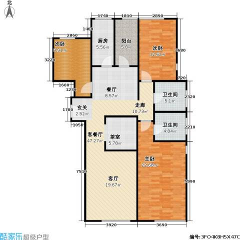 檀宫秀府3室1厅2卫1厨151.00㎡户型图