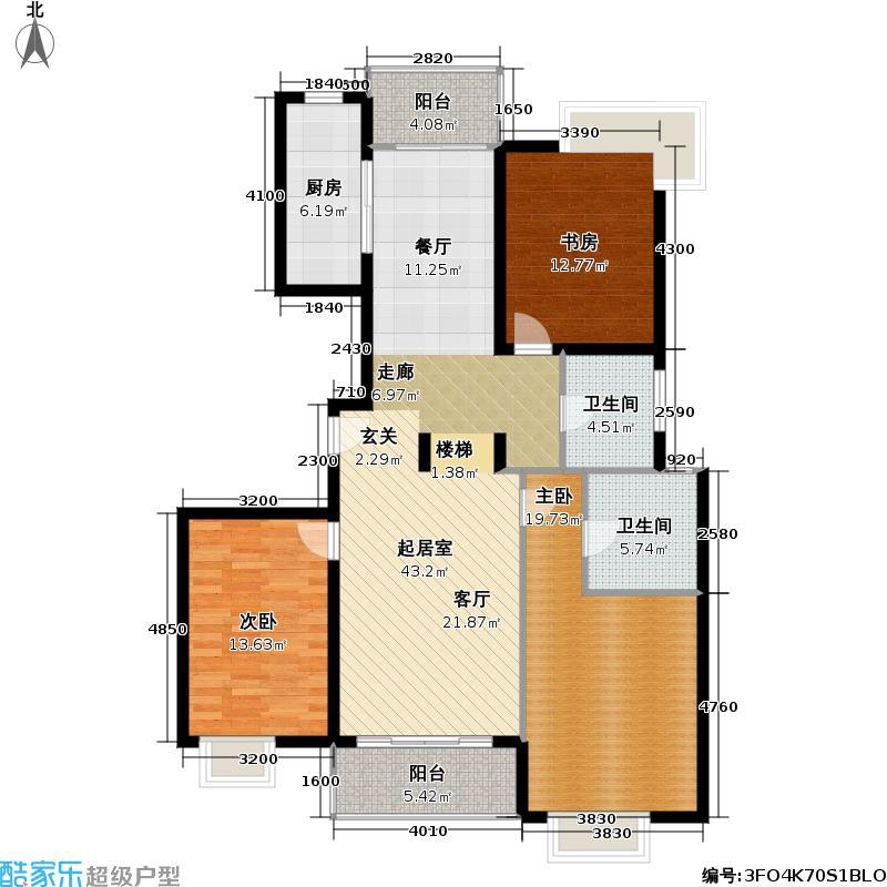 朱莘苑房型: 三房; 面积段: 128.99 -130.3 平方米; 户型