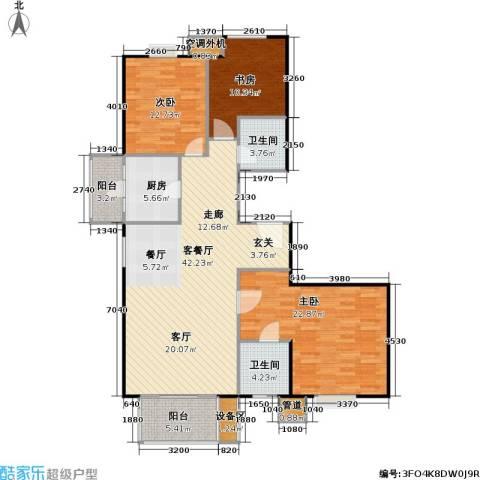 彩虹街区3室1厅2卫1厨123.00㎡户型图